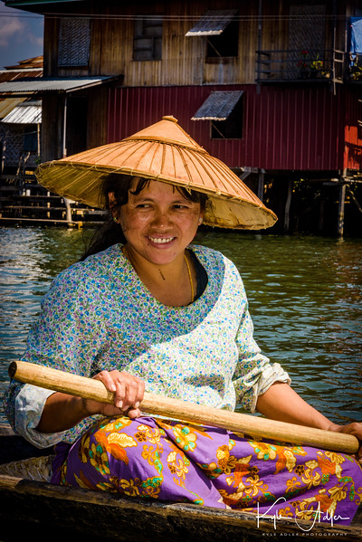 A resident of one of the villages dotting the shore of Inle Lake.  All travel in this region is done by water.