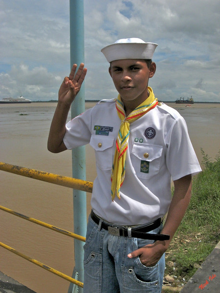 Sea Scouts in the middle of the Amazon.  These scouts were helpful guides at our stop in Parintins, Brazil.