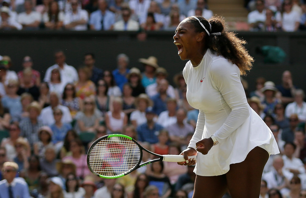 . Serena Williams of the United States celebrates winning a point during her women\'s singles final match against Germany\'s Angelique Kerber at the Wimbledon Tennis Championships, in London, Saturday July 14, 2018. (AP Photo/Tim Ireland)