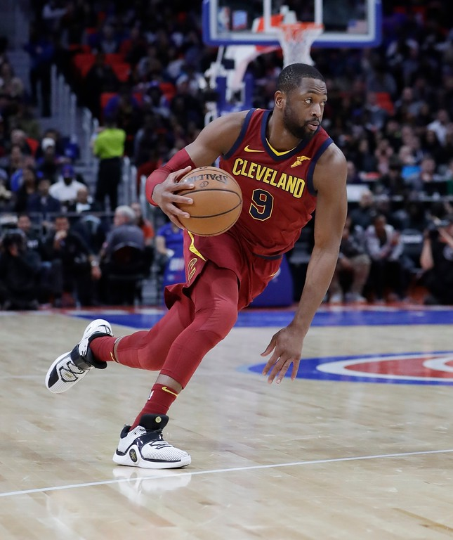 . Cleveland Cavaliers guard Dwyane Wade drives during the second half of an NBA basketball game against the Detroit Pistons, Monday, Nov. 20, 2017, in Detroit. (AP Photo/Carlos Osorio)