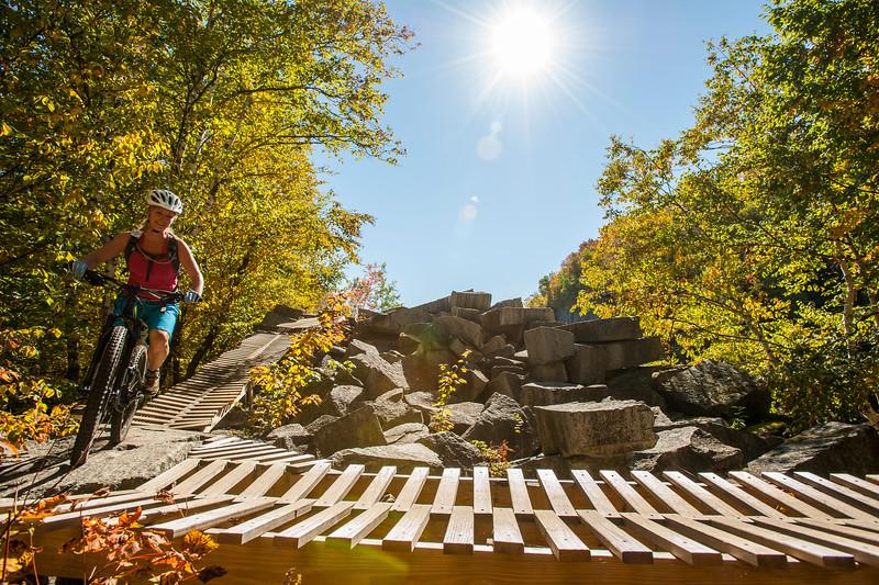 Mountain bike trip, Millstone trail, Vermont, USA.