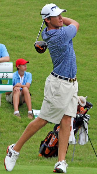 Kramer Hickok of Plano, TX hits his first tee shot during the match play portion of the 111th Western Amateur at The Alotian Club in Roland, AR. (WGA Photo/Ian Yelton)