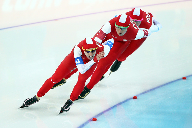 . Luiza Zlotkowska,  Natalia Czerwonka and Katarzyna Bachleda-Curus of Poland compete during the Women\'s Team Pursuit Semifinals Speed Skating event on day fifteen of the Sochi 2014 Winter Olympics at  at Adler Arena Skating Center on February 22, 2014 in Sochi, Russia.  (Photo by Clive Mason/Getty Images)