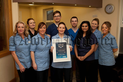 Pictured are staff at Yew Tree Dental Practice, Tracy McDonnell, Michelle Meaney, Leeann Brady, Mark Morris, Careen McMullan, Chris Hagan, Tess Anwar, Rachael Keenen and Naomi Clarke. R1448014