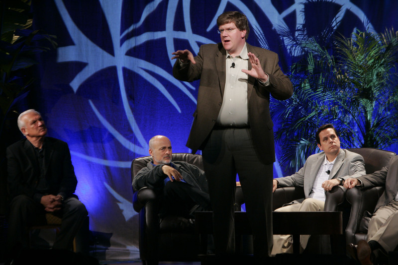 """CTO Design Challenge: """"And the Solution Is--"""": (L-R) Ron Roberts, David Brin, Ty Carlson (presenting), and Brian Higbee"""