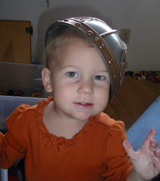 Trying on a Viking hat. 