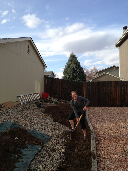 Erin helping with the trench
