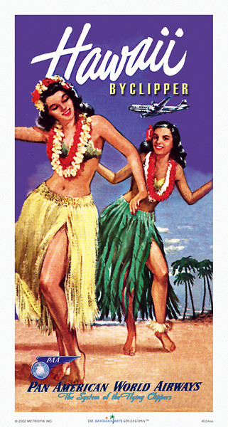 054: Pan American Hawaii poster: 'Hawaii by Clipper' from circa 1947. - Airline Poster, created from an original Panam travel brochure cover. Classic airline posters, such as this Pan Am poster, along with other vintage Pan Am posters, often depicting the Hawaii clipper and a vintage hula dancer or a few, are among some of the most famous Hawaii travel posters.