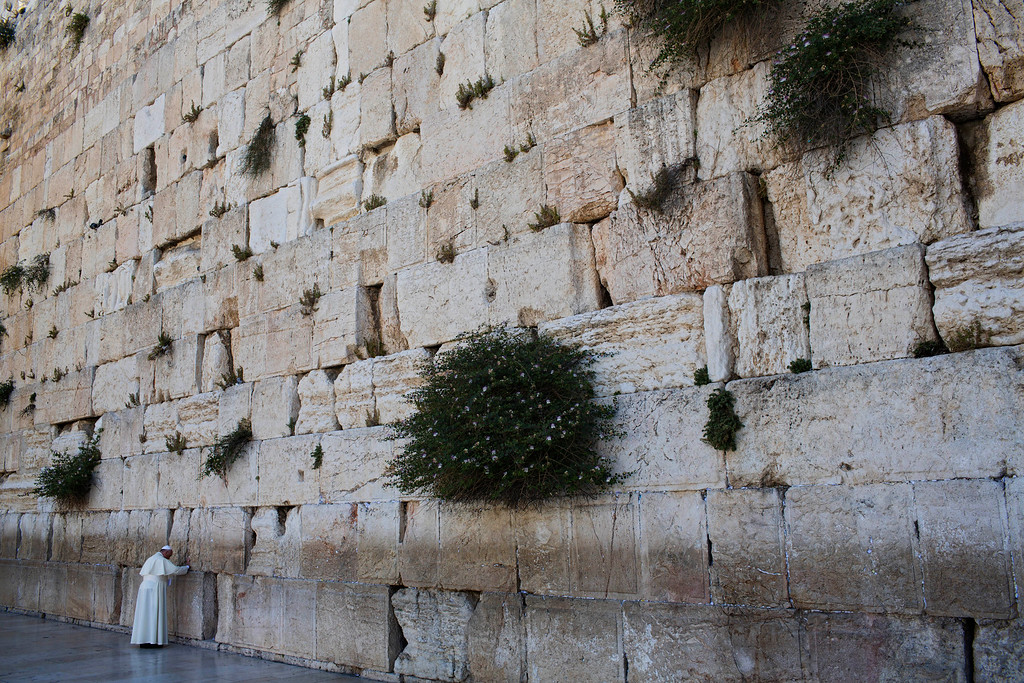 . Pope Francis prays in front of the Western Wall, Judaism\'s holiest site, in Jerusalem\'s Old City, Monday, May 26, 2014.  (AP Photo/Oded Balilty, File)