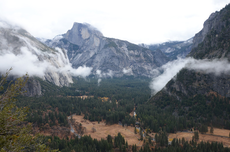 View of Half Dome and the valley floor on the way up to Upper Yosemite Falls