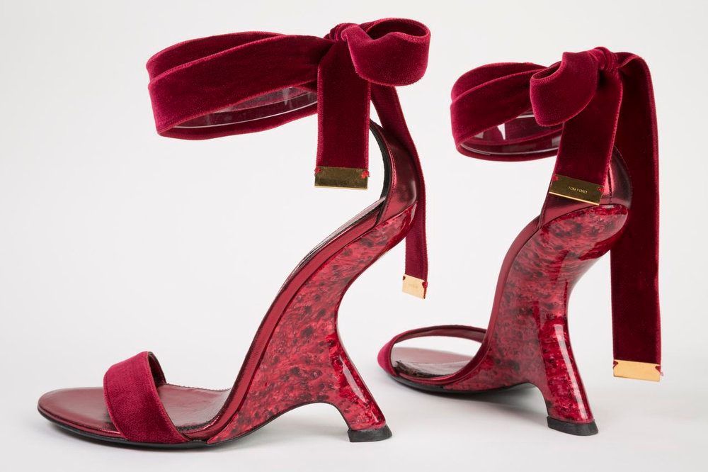 Description of . A pair of shoes designed by Tom Ford in 2012. The shoes are displayed at the