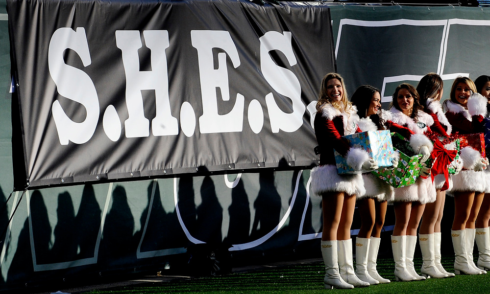 Description of . New York Jets cheerleaders stand near a banner in memory of the victims of the Sandy Hook Elementary School shooting in Newtown, Conn., during the first half of an NFL football game between the New York Jets and the San Diego Chargers, Sunday, Dec. 23, 2012, in East Rutherford, N.J. (AP Photo/Bill Kostroun)