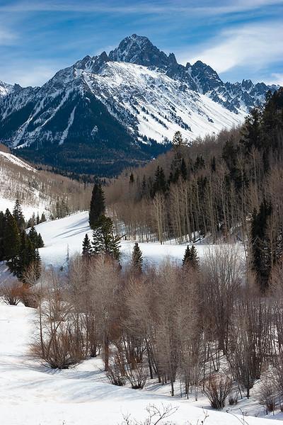 Mount Sneffels and Dallas Creek Valley in Winter