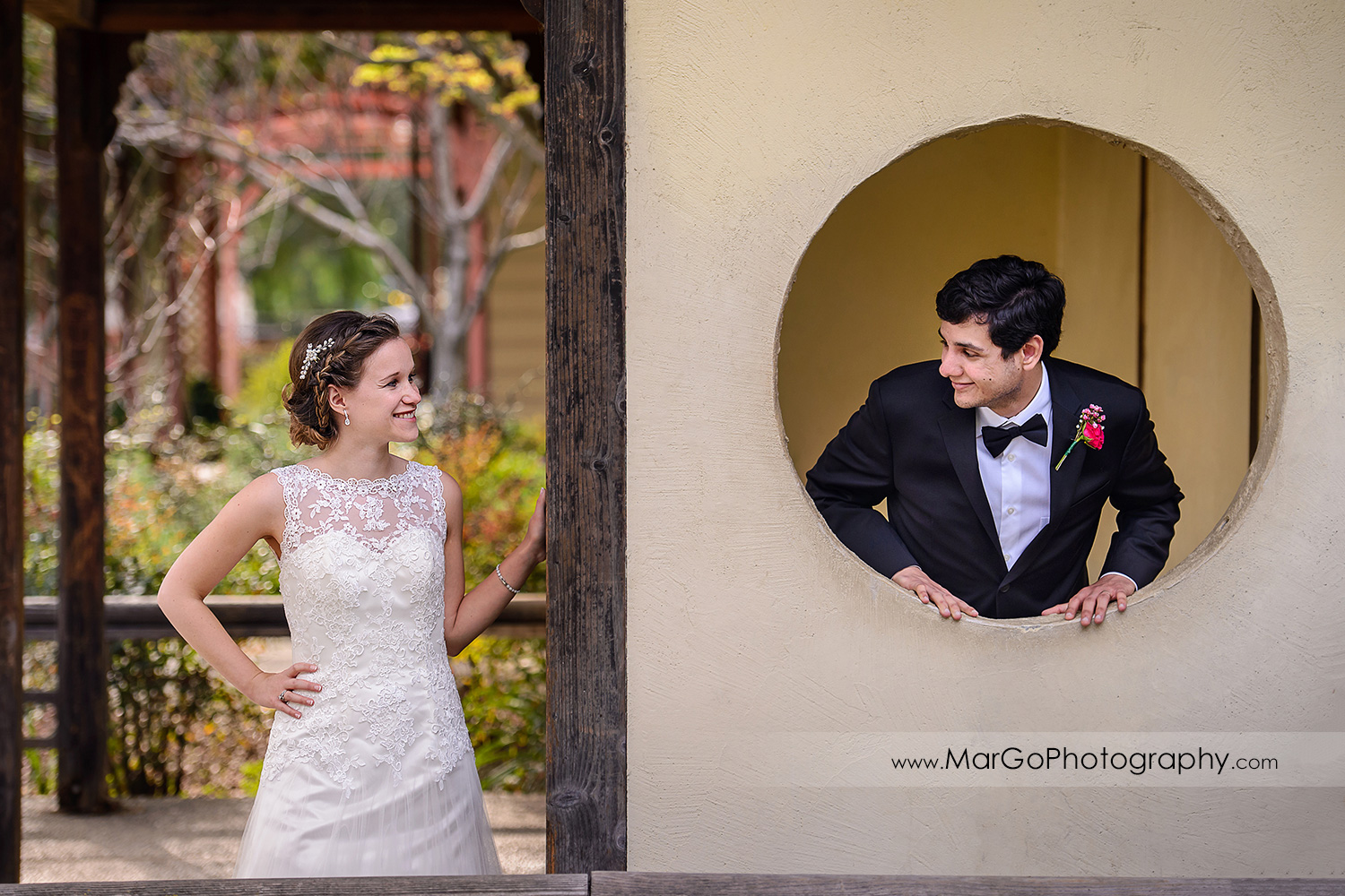 bride and groom looking at each other during bridal session at Shinn Historical Park and Arboretum in Fremont