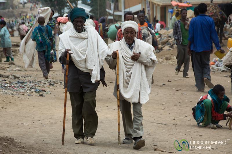 Old Friends Talking Together at Debark Market - Ethiopia
