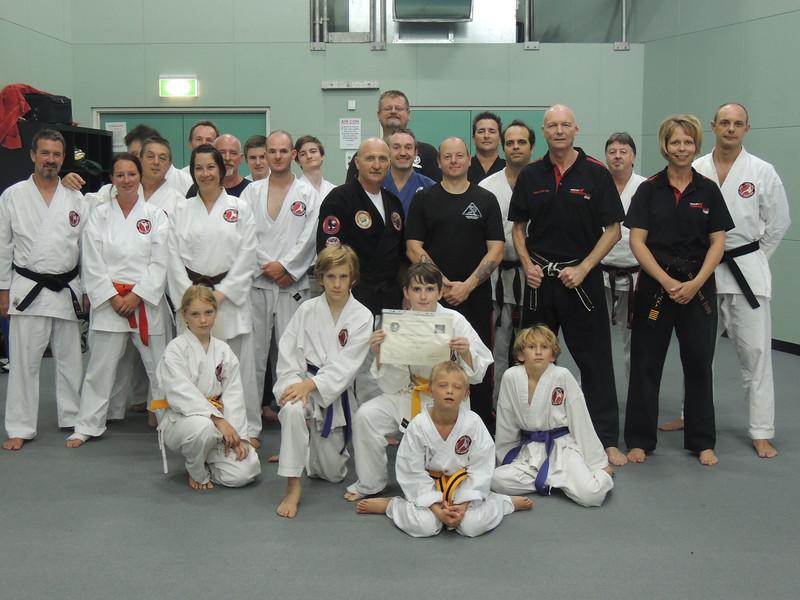 Grandmaster Angelo 8th Dan Founder Filipino Kyusho with students on the Combat Karate Noosa Seminar February 2014