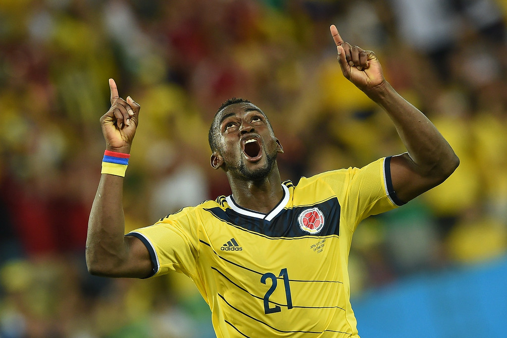 . Colombia\'s forward Jackson Martinez celebrates after scoring his second goal during the Group C football match between Japan and Colombia at the Pantanal Arena in Cuiaba during the 2014 FIFA World Cup on June 24, 2014.   FUMI KITAMURA/AFP/Getty Images