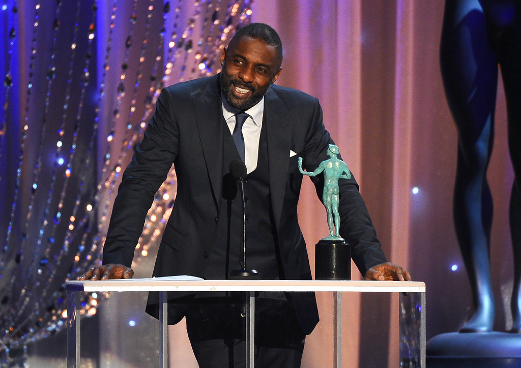 . Idris Elba accepts the award for outstanding actor in a TV movie or mini-series for his role in ìLuther at the 22nd annual Screen Actors Guild Awards at the Shrine Auditorium & Expo Hall on Saturday, Jan. 30, 2016, in Los Angeles. (Photo by Vince Bucci/Invision/AP)