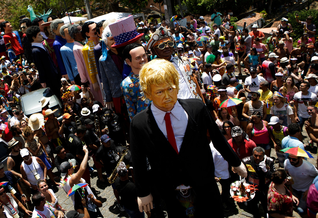 . A giant puppet depicting U.S. President Donald Trump is seen during Carnival celebrations in Olinda, Pernambuco state, Brazil, Monday, Feb. 27, 2017. (AP Photo/Diego Herculano)