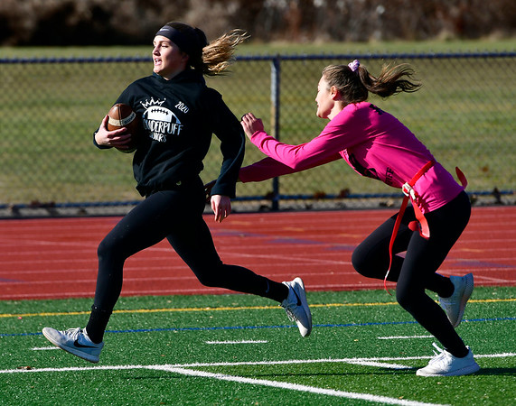 11/23/2019 Mike Orazzi | Staff Bristol Central High School's Peyton Gregor scores a TD during Saturday's Powder Puff football game.
