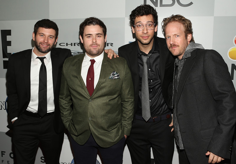 . Brent Morin, David Flynn, Rick Glassman and Guest attend Universal, NBC, Focus Features and E! Entertainment 2015 Golden Globe Awards After Party sponsored by Chrysler and Hilton at The Beverly Hilton Hotel on January 11, 2015 in Beverly Hills, California.  (Photo by Jesse Grant/Getty Images for NBCUniversal)