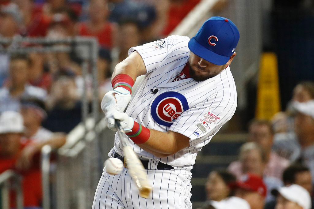 . Chicago Cubs Kyle Schwarber hits in the MLB Home Run Derby, at Nationals Park, Monday, July 16, 2018 in Washington. The 89th MLB baseball All-Star Game will be played Tuesday. (AP Photo/Patrick Semansky)