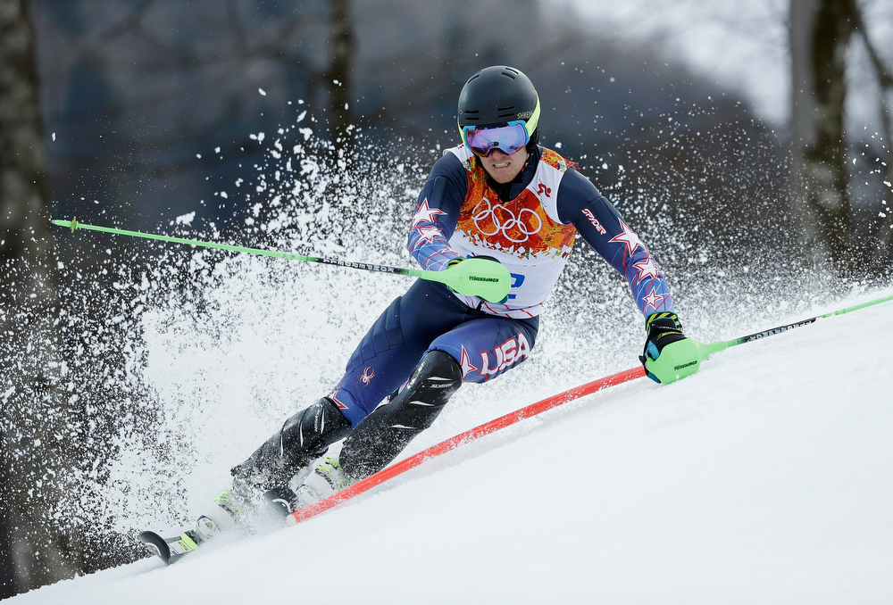 . Ted Ligety of the United States competes during the Alpine Skiing Men\'s Super Combined Downhill on day 7 of the Sochi 2014 Winter Olympics at Rosa Khutor Alpine Center on February 14, 2014 in Sochi, Russia.  (Photo by Ezra Shaw/Getty Images)