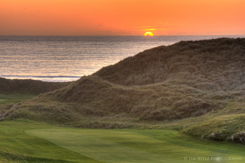 Sunset over the 18th at Ballybunion Old Course.