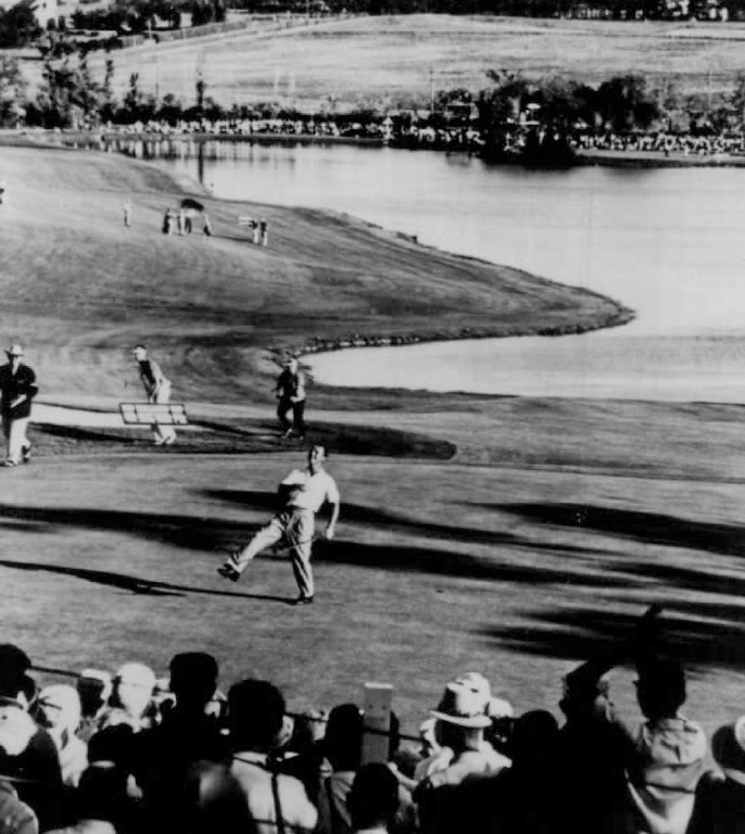 . The world\'s most famous visor throw. Arnold Palmer has just won the 1960 U. S. Open by two shots over amateur Jack Nicklaus at Cherry Hills Country Club.