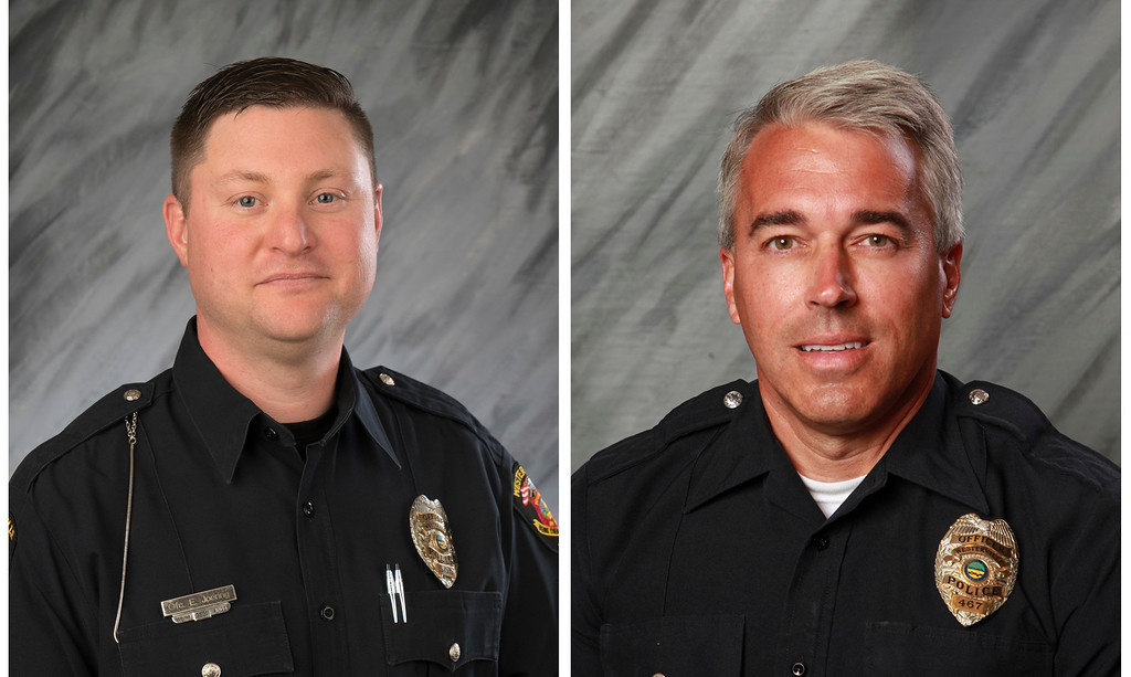 . FILE - These undated file photos provided by the City of Westerville, Ohio show Officers Eric Joering, 39, left, and Anthony Morelli, 54, who were fatally shot while responding to a hang-up 9-1-1 call on Saturday, Feb. 10, 2018.  Police in the Columbus suburb of Westerville on Monday, Feb. 12 will escort the bodies of two slain officers as they\'re moved from a coroner\'s office to separate funeral homes. Officials invited the public to line the route as the bodies are transported Monday to honor the officers.  (City of Westerville via AP, File)