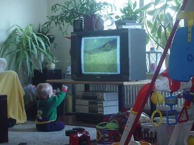 Elise watching TV