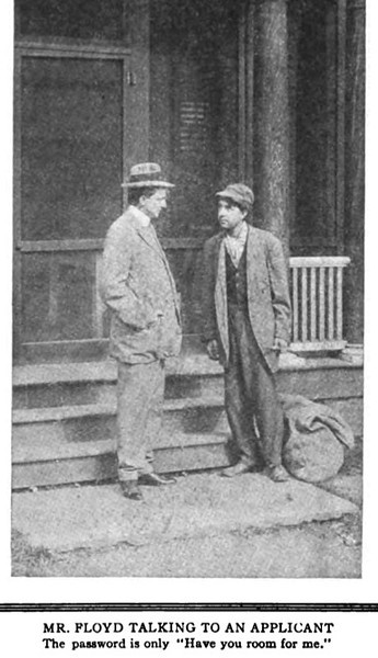 Mr. Floyd interviews a prospective resident in front of what is now the Girl Scout Field house. We are unsure if syntax counted when giving the password to get in.