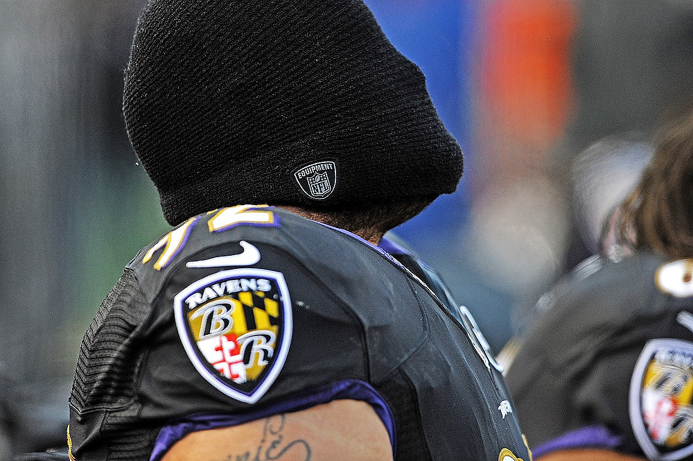 . Nose tackle Haloti Ngata #92 of the Baltimore Ravens has a moment to himself before playing the New York Giants at M&T Bank Stadium on December 23, 2012 in Baltimore, Maryland. The Baltimore Ravens won, 33-14.  (Photo by Patrick Smith/Getty Images)