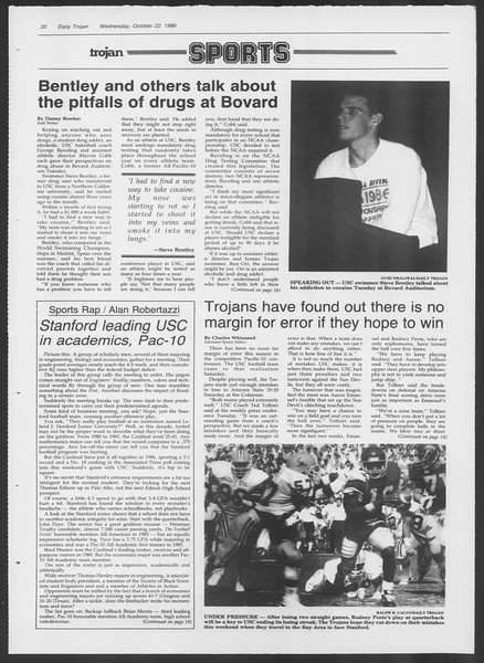 Daily Trojan, Vol. 102, No. 37, October 22, 1986