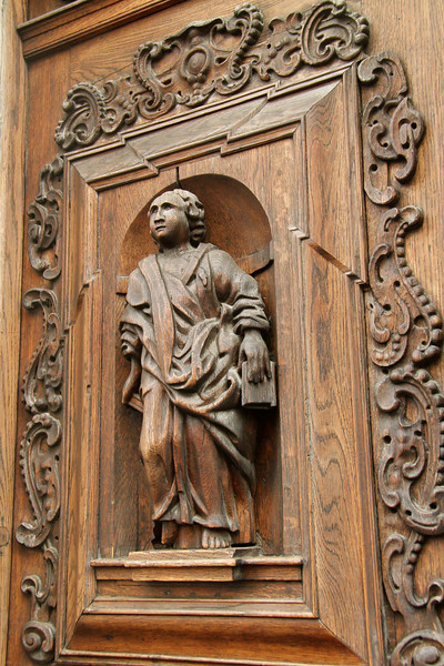 Beautiful, intricate carved wooden doorway  -Tallinn, Estonia