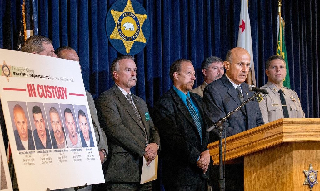 . Sheriff Lee Baca talks about the yearlong investigation into a bank heist crew that accessed San Gabriel Valley bank roofs to gain access into cement vaults at LASD headquarters in Monterey Park April 10, 2013.  The five men were arrested April 5th in connection with at least three bank burglaries in the Diamond Bar and Rowland Heights areas.   (SGVN/Staff photo by Leo Jarzomb)