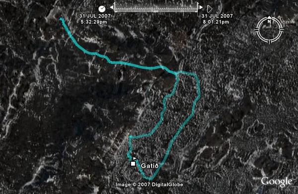 Leiðin séð í Google Earth. Gengnir voru rúmir 7 kílómetrar.