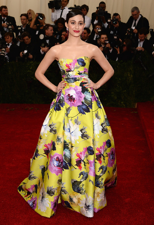 """. Emmy Rossum  attends the \""""Charles James: Beyond Fashion\"""" Costume Institute Gala at the Metropolitan Museum of Art on May 5, 2014 in New York City.  (Photo by Dimitrios Kambouris/Getty Images)"""