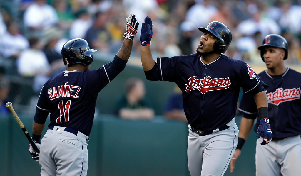 . Cleveland Indians\' Edwin Encarnacion, right, is congratulated by Jose Ramirez (11) after hitting a two-run home run off Oakland Athletics\' Paul Blackburn in the fourth inning of a baseball game Saturday, July 15, 2017, in Oakland, Calif. (AP Photo/Ben Margot)