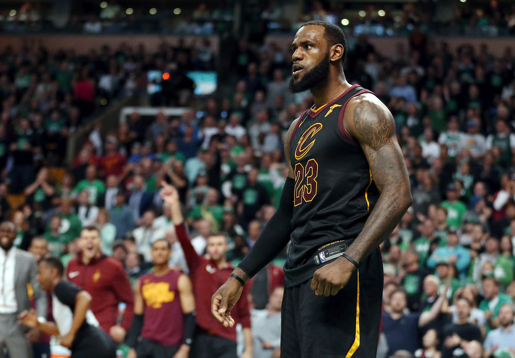 . Cleveland Cavaliers forward LeBron James celebrates a basket against the Boston Celtics during the second half in Game 7 of the NBA basketball Eastern Conference finals, Sunday, May 27, 2018, in Boston. (AP Photo/Elise Amendola)