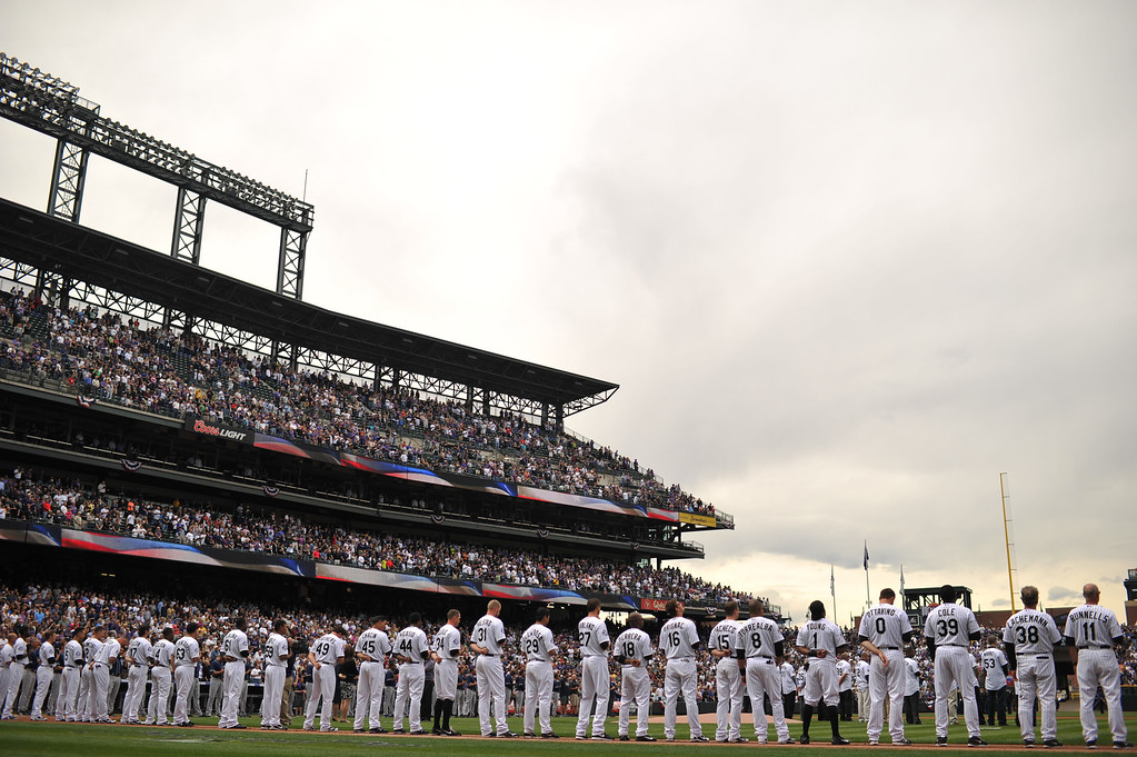 . The Colorado Rockies line up for the National Anthem.  T (Photo by Hyoung Chang/The Denver Post)