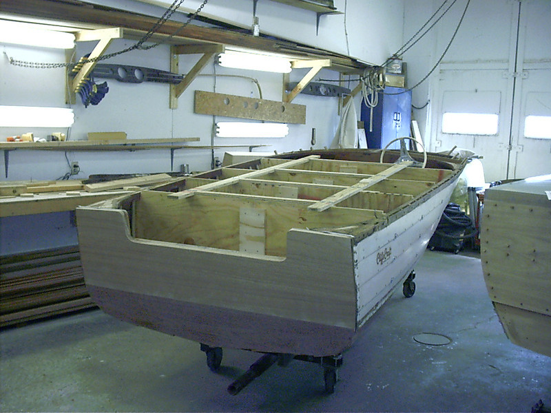 Rear view of hull right side up. Next step rebuilding the deck and gunnel.