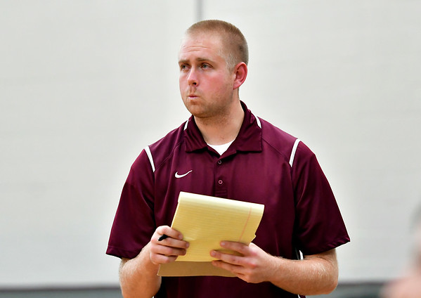 10/1/2019 Mike Orazzi | StaffrBristol Central Girls Volleyball Coach Lance Pepper during Tuesday's volleyball match with Platt at BC.