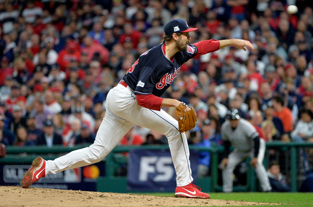 . Cleveland Indians relief pitcher Andrew Miller delivers to the New York Yankees in the fourth inning of Game 5 of baseball\'s American League Division Series, Wednesday, Oct. 11, 2017, in Cleveland. (AP Photo/Phil Long)