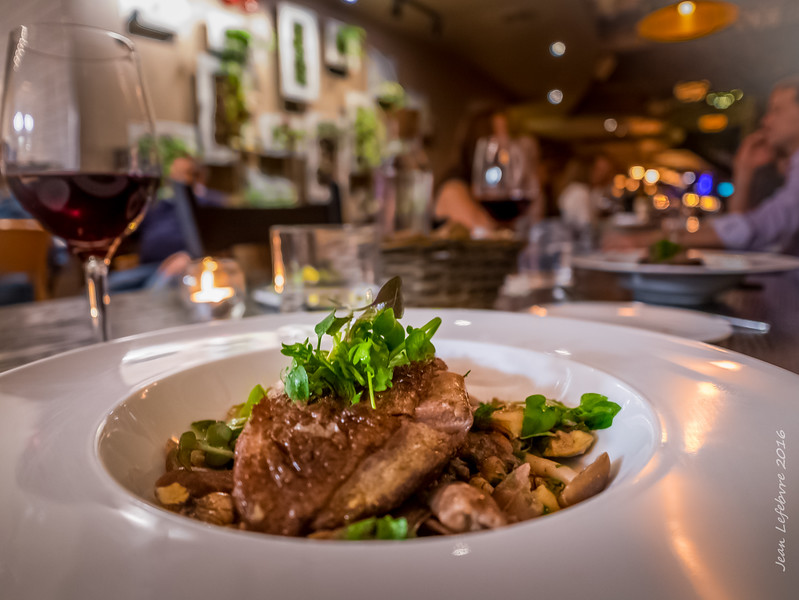 Duck Breast and Ragout, with Honey Mushrooms and Heart Nuts served with a great pairing wine from the Canary Islands