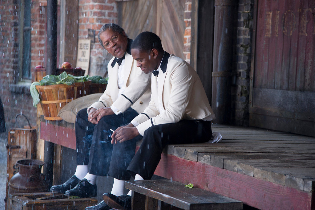 ". Clarence Williams, left, and Aml Ameen in a scene from ""Lee Daniels\' The Butler.\"" (AP Photo/The Weinstein Company, Anne Marie Fox)"