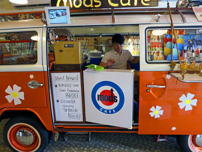 Mods Cafe — a VW bus inside a store on Harmony Street