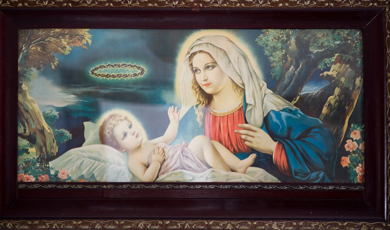 Frame with a draw of Our Lady with Baby Jesus, town of Casta–o del Robledo, province of Huelva, Andalusia, Spain