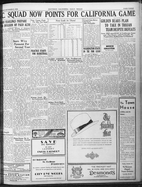 Daily Trojan, Vol. 22, No. 32, October 27, 1930