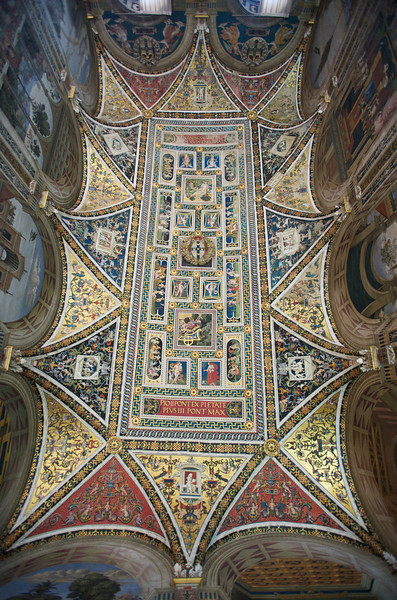 Ceiling, Piccolomini Library, Siena Cathedral, Siena, Italy